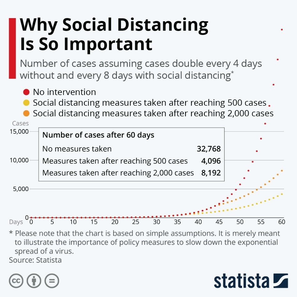 Why social distancing is so important (Image: Statista)